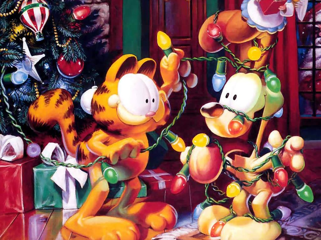 Garfield And Odie Christmas Wallpaper 1024x768