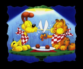 Garfield And Odie Eating Spaghetti Spoof Wallpaper