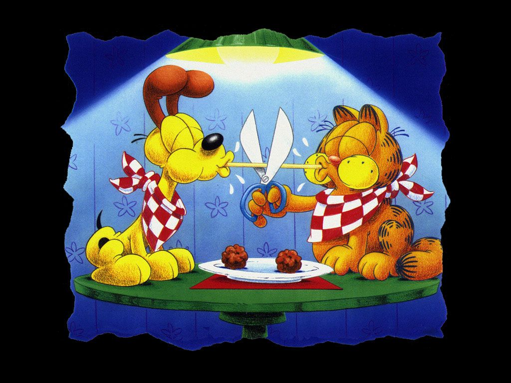 Garfield And Odie Eating Spaghetti Spoof Wallpaper 1024x768