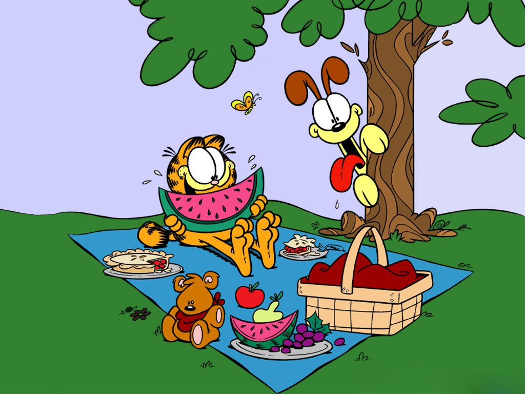 Garfield And Odie Picnic Wallpaper 1024x768