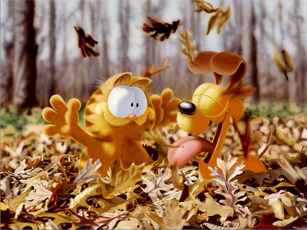 Garfield And Odie Playing With Leaves Wallpaper 1280x960
