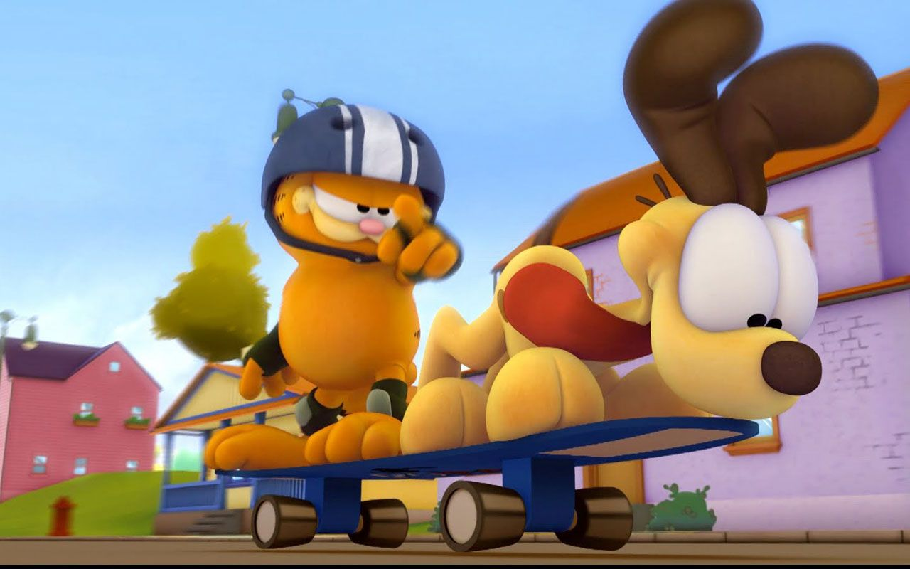 Garfield And Odie Skateboarding Wallpaper 1280x800