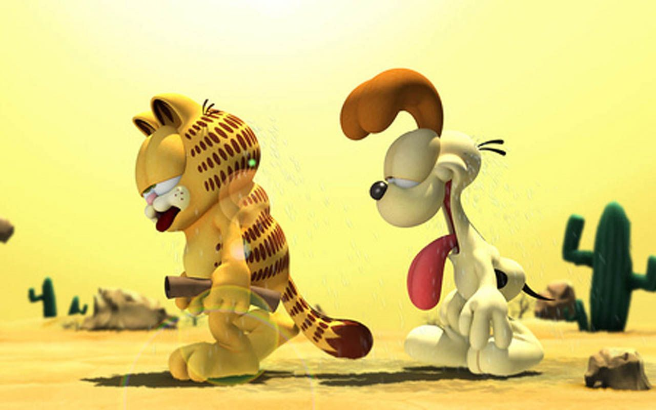 Garfield And Odie Sweating In Desert Wallpaper 1280x800