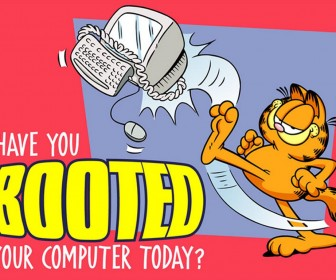 Garfield Boot Your Computer Slogan Wallpaper
