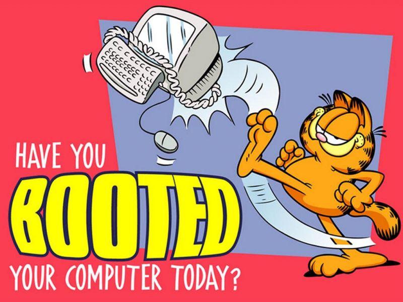 Garfield Boot Your Computer Slogan Wallpaper 800x600