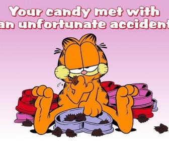 Garfield Eating Candy Slogan Wallpaper