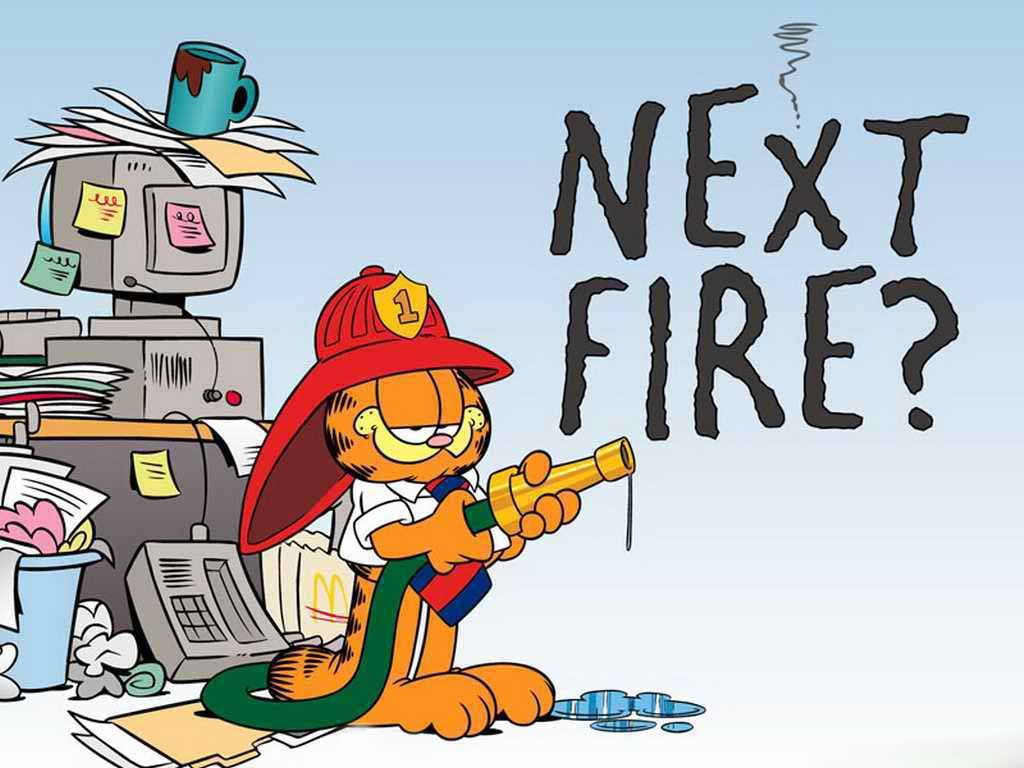 Garfield Fire Fighter Wallpaper 1024x768
