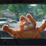 Garfield Flat Against Car Window Wallpaper