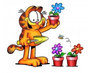 Garfield Holding Flower Pot Wallpaper