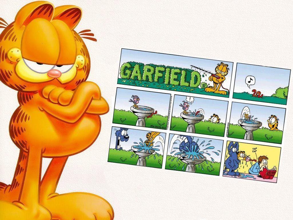 Garfield Portrait With Comic Strip Wallpaper 1024x768
