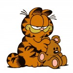 Garfield Sitting With Stufferd Bear Wallpaper