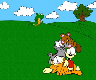 Garfield Telma And Odie On A Hill Wallpaper
