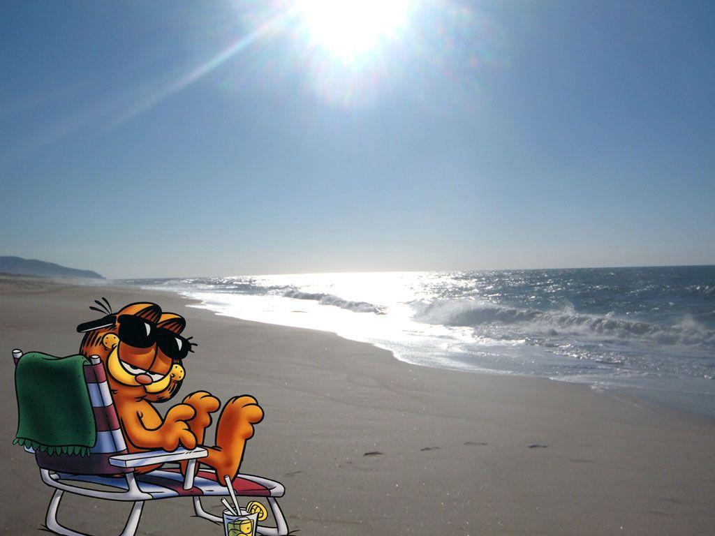 Garfiled On The Beach Wallpaper 1024x768